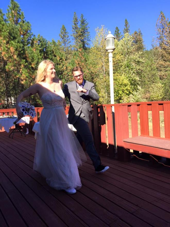 Jason and I dancing back down the aisle.